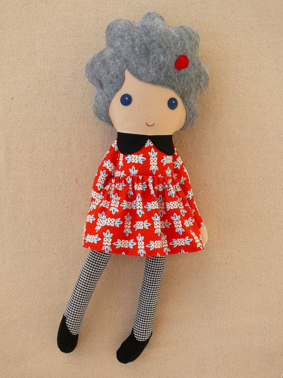 Fabric Doll Rag Doll Gray Haired Granny Doll in Red Dress