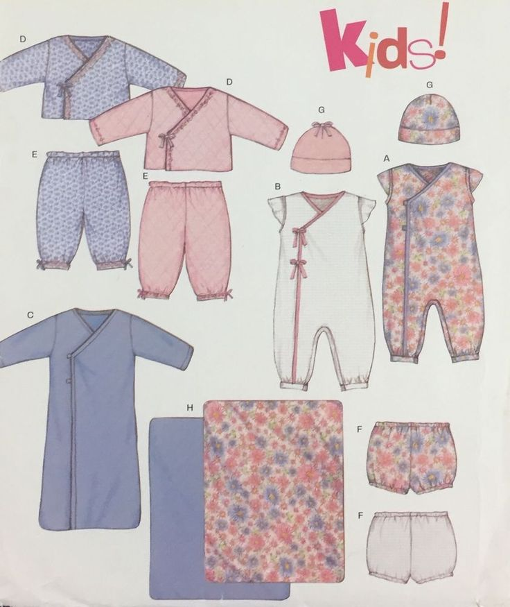Uncut New Look Pattern Baby Layette Set Sleeper Diaper Cover Hat Size NB S M L #NewLook