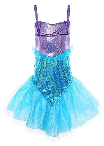 a5437e5b8 MOREMOO Little Girl Sequins Princess Mermaid Costume Dress with Tail ...