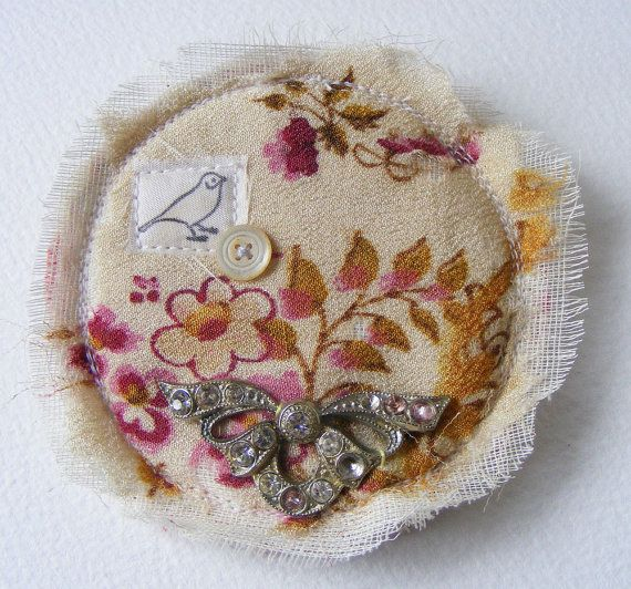 Handmade textile BROOCH Beautiful antique cashmere by hensteeth, $25.00