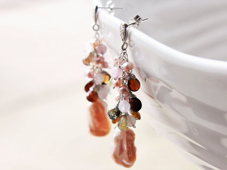 Blush Biwa Pearls Earrings, Rose Quartz, Watermelon Tourmaline, .925 Sterling Silver wire wrap, long cluster earrings, holiday gift ideas by AliraTreasures on Etsy