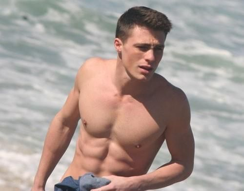 American model and actor Colton Haynes shirtless...