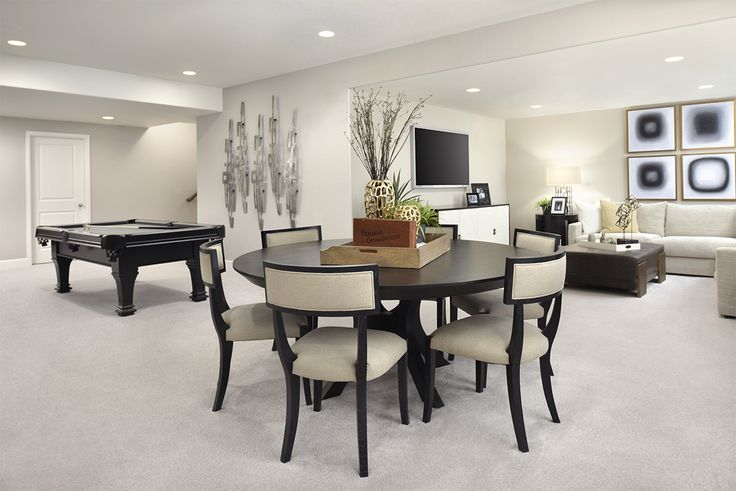 Complementary Tones Set The Mood For This Appealing Basement Game Room |  Daley Model Home |