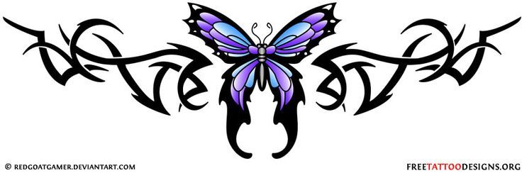 Lower back tribal butterfly tattoo design. Lower Back Butterfly Tattoo | Tribal Lower Back Tattoo | Crown Lower Back Tattoo Designs.