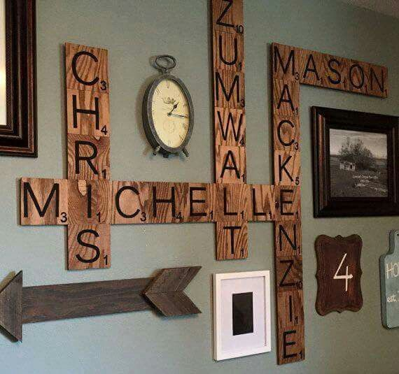 How cute would this be?!  Scrabble letter wall art.
