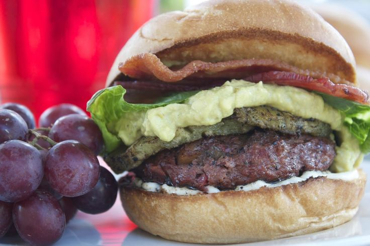 Mango and Peach Salsa Burgers from Thyme in Our Kitchen
