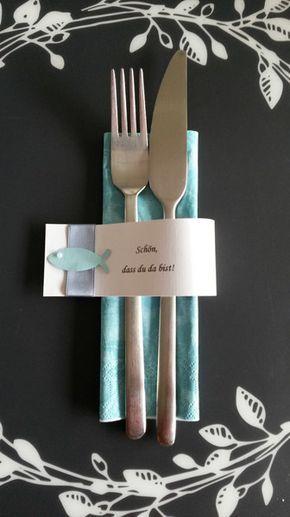 Servietten & Serviettenringe - 10 Serviettenringe Taufe Kommunion Konfirmation - ein Designerstück von LueBueFre bei DaWanda