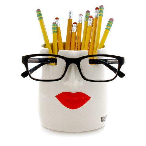 Taza y vasos portalápices, labios, eres espectacular, regalo para profesor…