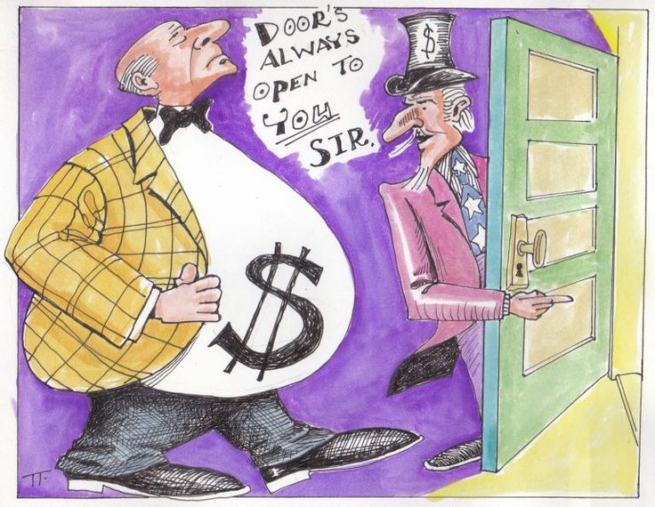 """Editorial cartoon by Tom Ferguson of Uncle Sam holding the door of a man fat with money - Uncle Sam says, """"Door's always open to you, sir."""""""