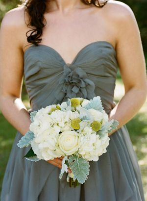 gray bridesmaid dress and flowers: Gray Bridesmaid Dresses, Dresses Color, Green Gray, Flower Photo, Grey Bridesmaid Dresses, Weddings Color Olives Green, The Dresses, Green Bridesmaid Dresses, Gray Dresses