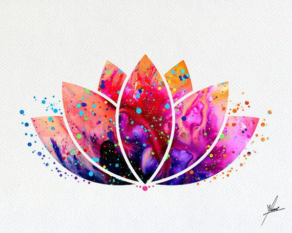 Lotus Flower Yoga Symbol Watercolor Illustrations by PainterlyDots
