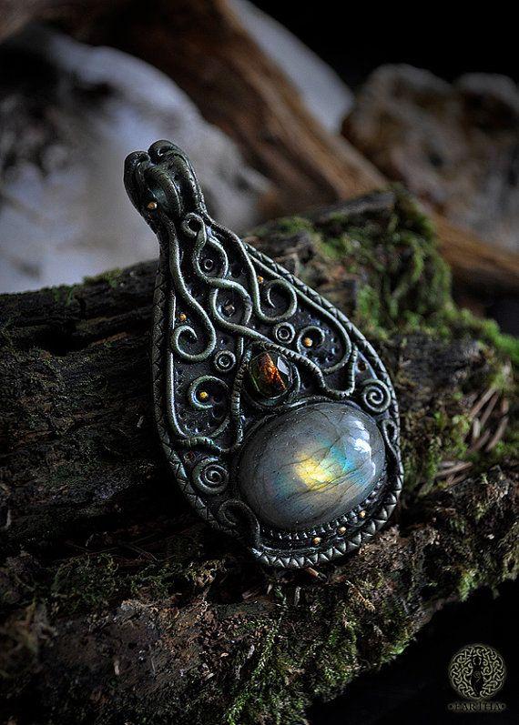 Fantasy pendant  Healing energy  Labradorite  by EarthaCreations
