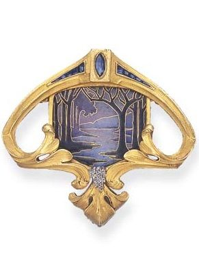 AN ART NOUVEAU ENAMEL, SAPPHIRE AND DIAMOND BROOCH. Centring upon a purple and blue plique-à-jour enamel landscape, within a scrolling sculpted gold surround, enhanced by a reverse-set marquise-cut sapphire and calibré-cut sapphire detail, to the rose-cut diamond trim, mounted in 18k gold, circa 1905, with French assay marks and Austrian marks. #ArtNouveau #brooch