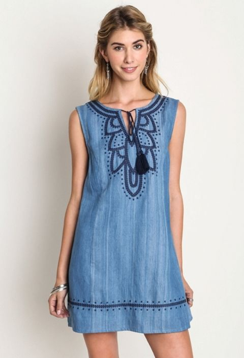 Denim Embroidered Shift Dress – The Elegant Rant Boutique | A True Online Boutique https://elegantrant.com/collections/new-arrivals/products/denim-embroidered-shift-dress