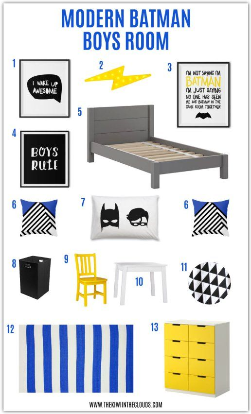 This modern batman boys room is perfect for the young superhero boy! The black and white lends itself to a contemporary vibe while the pops of yellow and blue provide the youthful feel. And bonus, there's a FREE I'm not saying I'm Batman download!