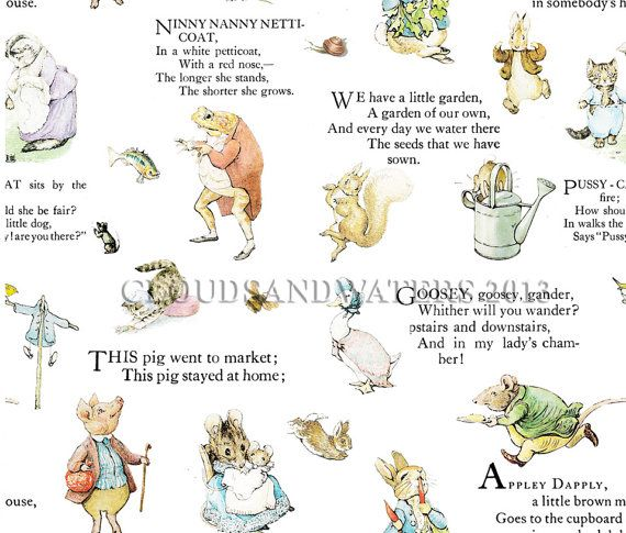 WALLPAPER Nursery Rhymes Wallpaper and by LittleVintageAmelia