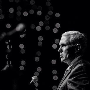 Instagram photo by thestarpress - Gov. Mike Pence talks about the state economy and education while in Muncie. #muncie #politics #indiana #bandw #portrait #speak #economy #government #jobs #usa #news - Jordan Kartholl