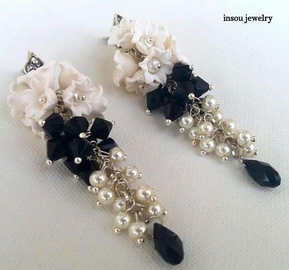Flower Earrings Lily Of The Valley White Earrings Pearl