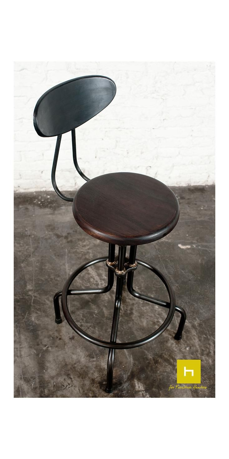 The Lu0027Usine Counter Stool With Back Rest Combines Original Cast Iron  Collars Influenced By