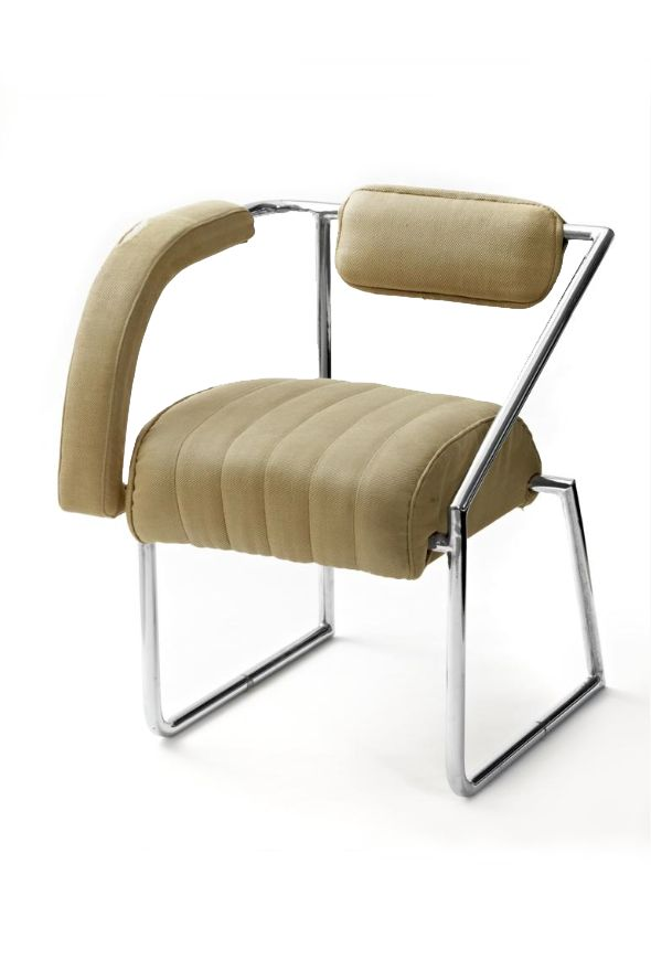 """Eileen Gray, chair, 1926. Via Irish Times.The non-conformist chair is designed with only one arm rest. Gray explained her design was to """" leave the body more freedom in movement and to allow it to bend forward or to turn to the other side unrestricted""""."""