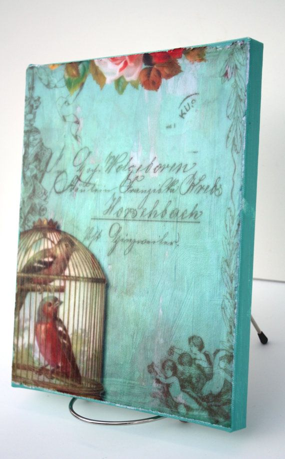 Shabby Cottage Chic Print Decoupaged on Canvas by SecondHandNews, $19.00