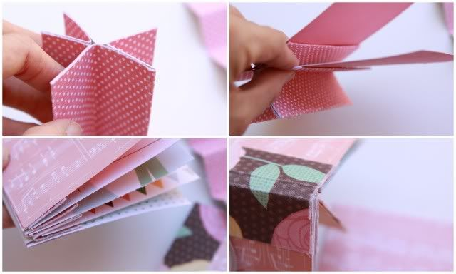 Mini album with fabric paper binding, scrapbook