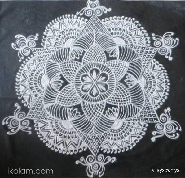Rangoli Free hand design in Black and White free hand design blackboard kolams white powder | www.iKolam.com