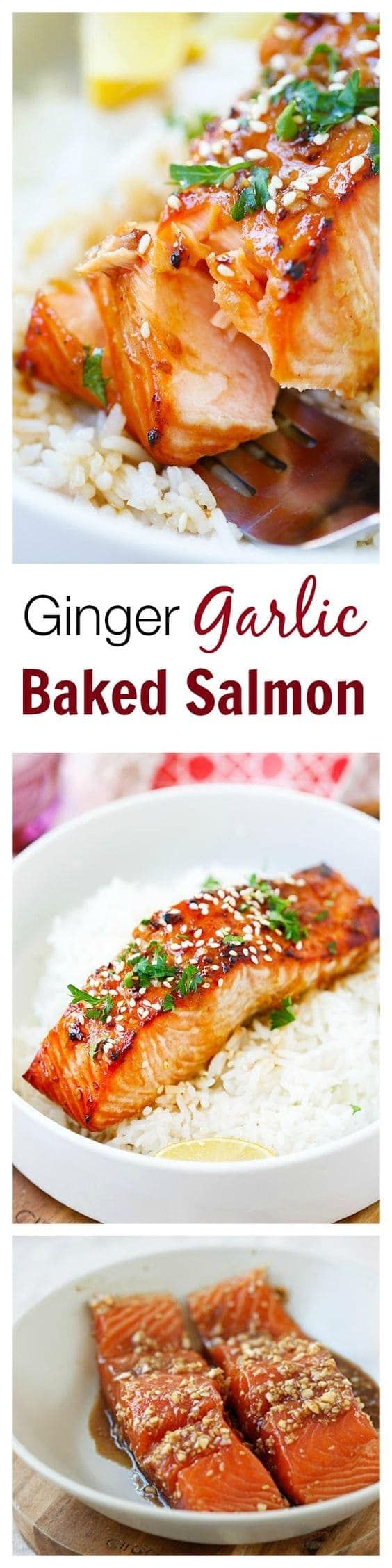 Ginger Garlic Baked Salmon – the best and easiest salmon recipe ever! Moist, flavorful, juicy, and takes only 10 mins to prep. So good you want seconds!!   rasamalaysia.com
