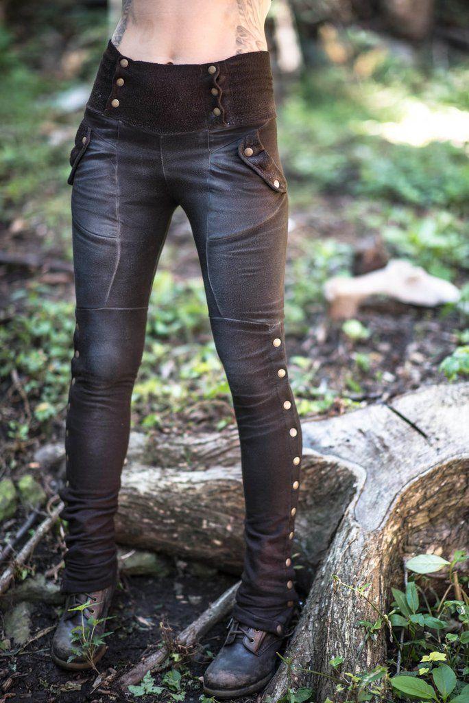 Black leather like leggings, I like the longer bottom!