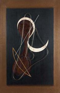 1945 - Domela, Cesar - Relief n°19 - Ebony, ivory, Plexiglas, brass - 89x55cm