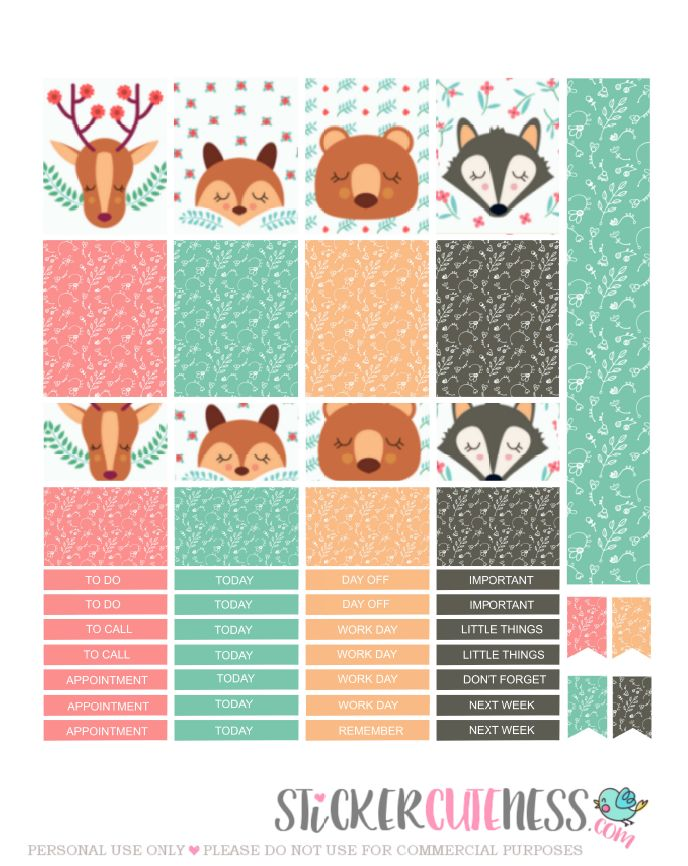 Free Printable Winter Critters Planner Stickers from StickerCuteness