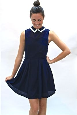 Our Prim Proper Navy Dress Is Too Sweet For Words Luxurious Detail And Fabric