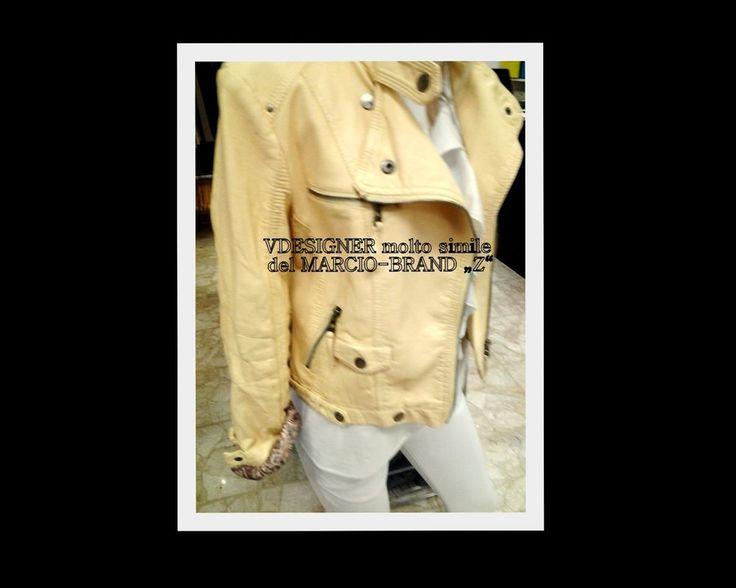Giacca Pelle Donna Designer simile famoso Brand-Marca Chiodo TG. L GIALLO yellow