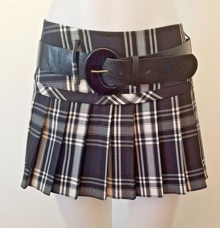 Tracy Evans Womens Black Plaid Big Buckle Kilt Skirt Size 7 New With Tags #TracyEvans #Pleated