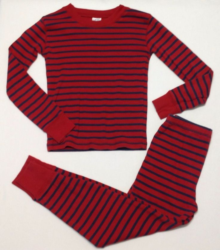Mini Boden Boys Size 8Y Pajama Set Red & Navy Blue Striped Long Johns 2 Piece #MiniBoden #PajamaSets