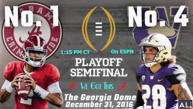 If Washington wins it will be a major upset. I am not betting on it nobody seems to remember how to ball when BAMA is on the other side of the line.
