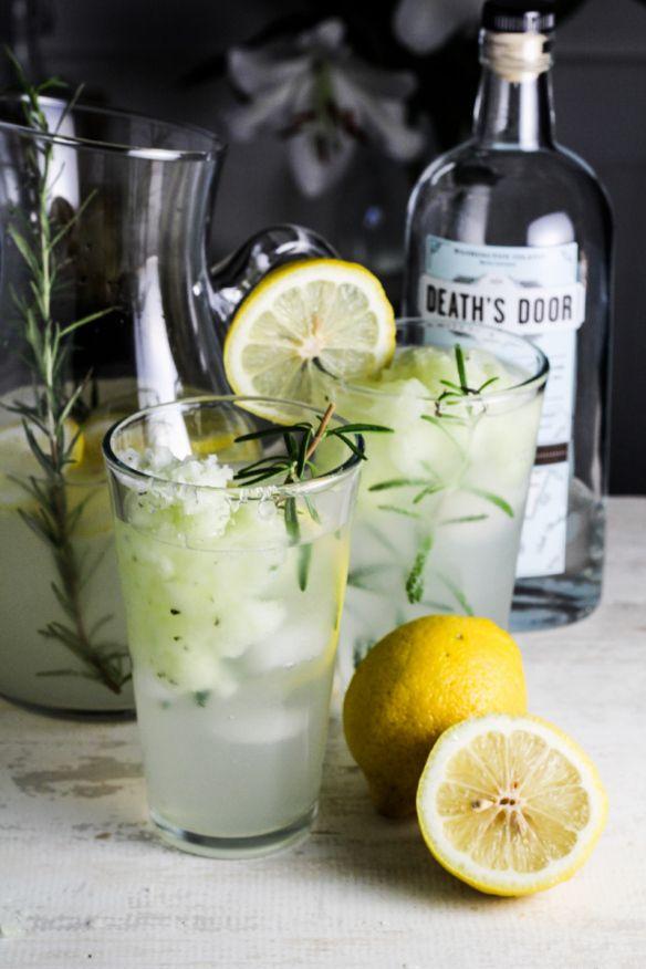 Lemon-Rosemary Gin Fizz with Cucumber Sorbet