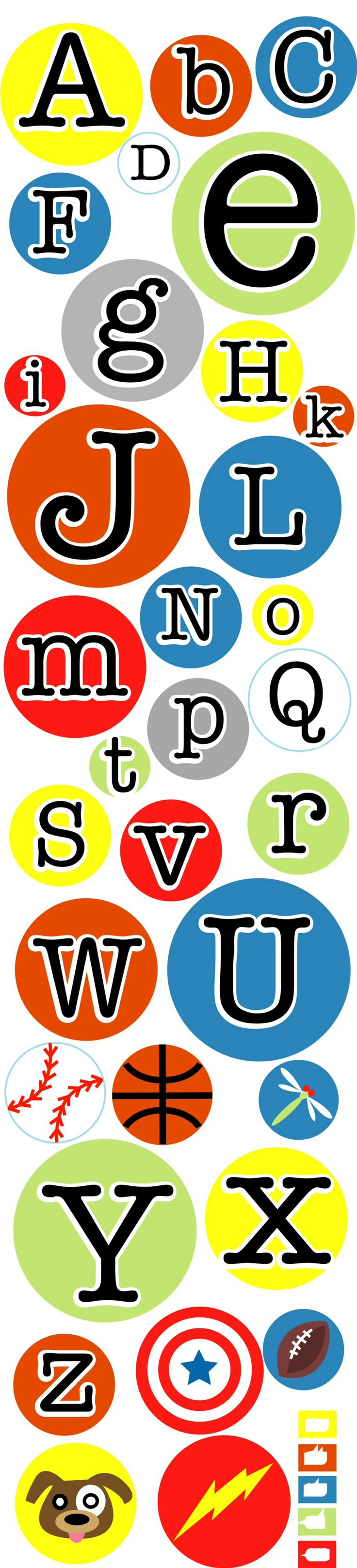 """Fun alphabet decals available at www.etsy.com/shop/AnitaRoll. The circles are 6, 10, 14 and 18"""" in diameter. Printed on repositionable fabric. Great for playrooms and bedrooms scattered around the room in a loose border.  Other pictures can be used in place of the sport themes."""