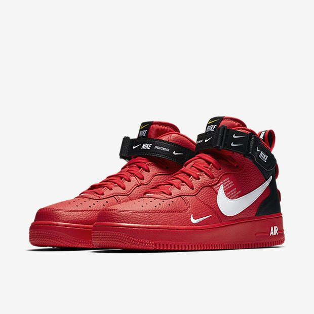 BlackShoes Force Air Lv8 Nike 1 Mid Red '07 QhtsrCd