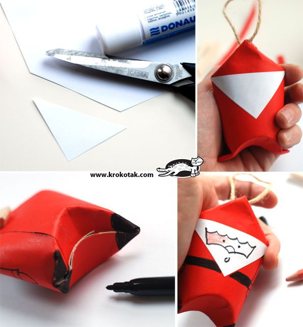 Toilet Paper Roll SANTA     -Would make a great small-item gift box?