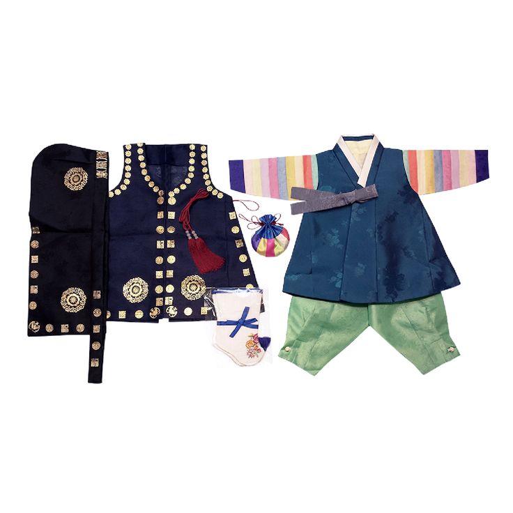 Dark Blue and Light Green - Boy Dol Hanbok Set - 7 Pieces