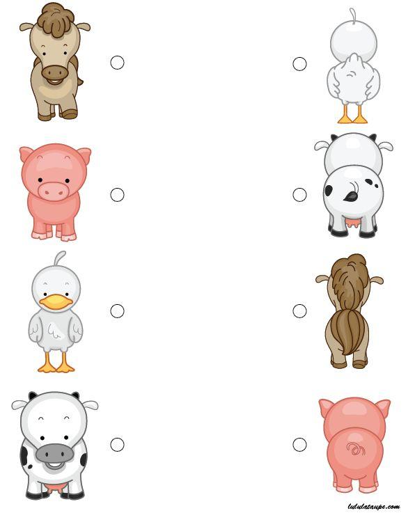 Exercice ludique pour enfants de maternelle, MS : vue de face, vue de dos