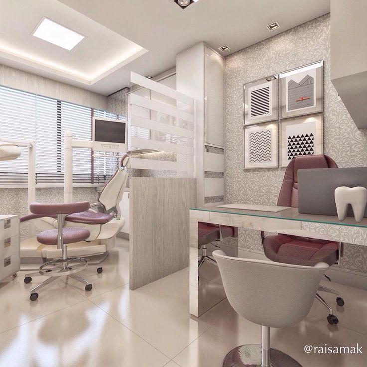 """153 curtidas, 11 comentários - Raisa Karigyo (@raisamak) no Instagram: """"Consultório odontológico para a jovem dentista. Tons neutros e um toque de cor nas cadeiras.…"""""""
