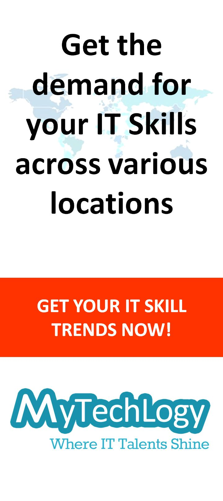 Do you know which of your IT skills could help you in your career progression? Get the demand for your IT skills across various locations on MyTechLogy now! Visit http://www.mytechlogy.com/  #skilltrends #jobtrends #careerprogression