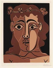 Pablo Picasso,  Jeune homme couronné de feuillage, 1962,  linocut su carta Vélin d'Arches, cm 62,9x44,5