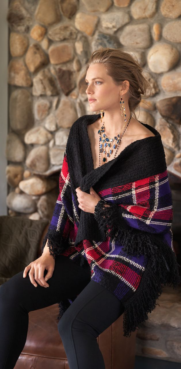 Lauren Woman: A bold plaid pattern and textural fringed trim make this wool-and-alpaca-blend poncho a statement-making layer. Wear it with a turtleneck and a skinny pant when the temperature dips.