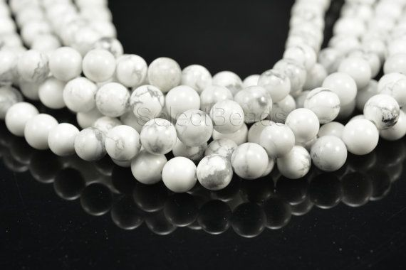 howlite white round bead 414mm white stone bead by SelectBeads, $3.40