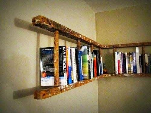 Modern and Unique Ladder Bookshelves Design Ideas for Home Library in Minimalist House