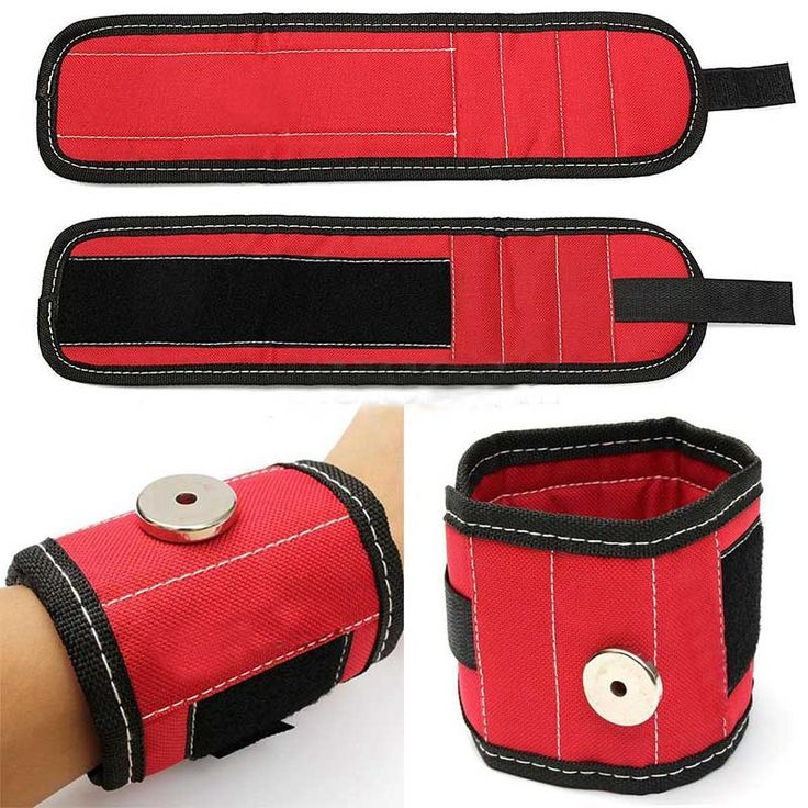 Sports Safety 13.8'' Magnetic Wristband Wrist Support Band Tool Belt Bracelet Nail Screw Kit Set Red Color -- Find similar products by clicking the VISIT button