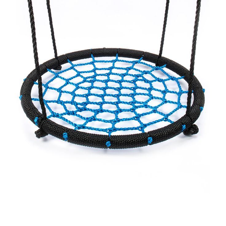 """Swing Set Accessories RESTAR Fabric Saucer Spinner Swing Easy Install on Swing Set or Tree Polyethylene Rope with Steel Frame 24""""(Black/Blue). WEIGHT LIMIT: 220lbs. Spacious Nest Swing Diameter 24 Inches.Holds one child.Under adult supervision. DURABLE AND ANTI-AGING: Three-strand twisted Polyethylene rope (PE Rope),Strong tensile strength,thick,anti-aging,perfect for outdoor rainy or sunny weather for long time. SAFE AND SHARE: High quality PE rope with steel frame keep childen safe play..."""